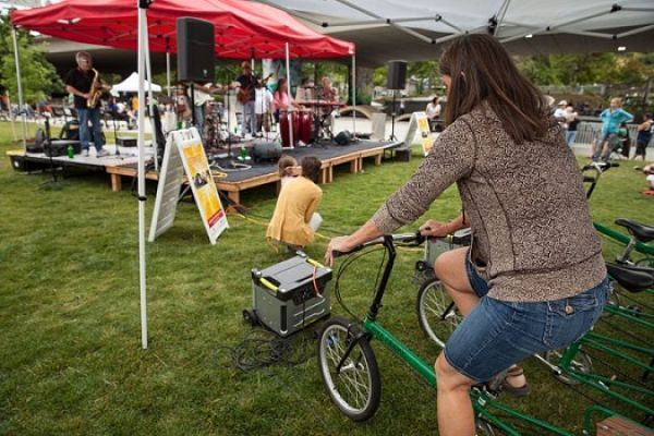 This stage is powered by human-powered bikes