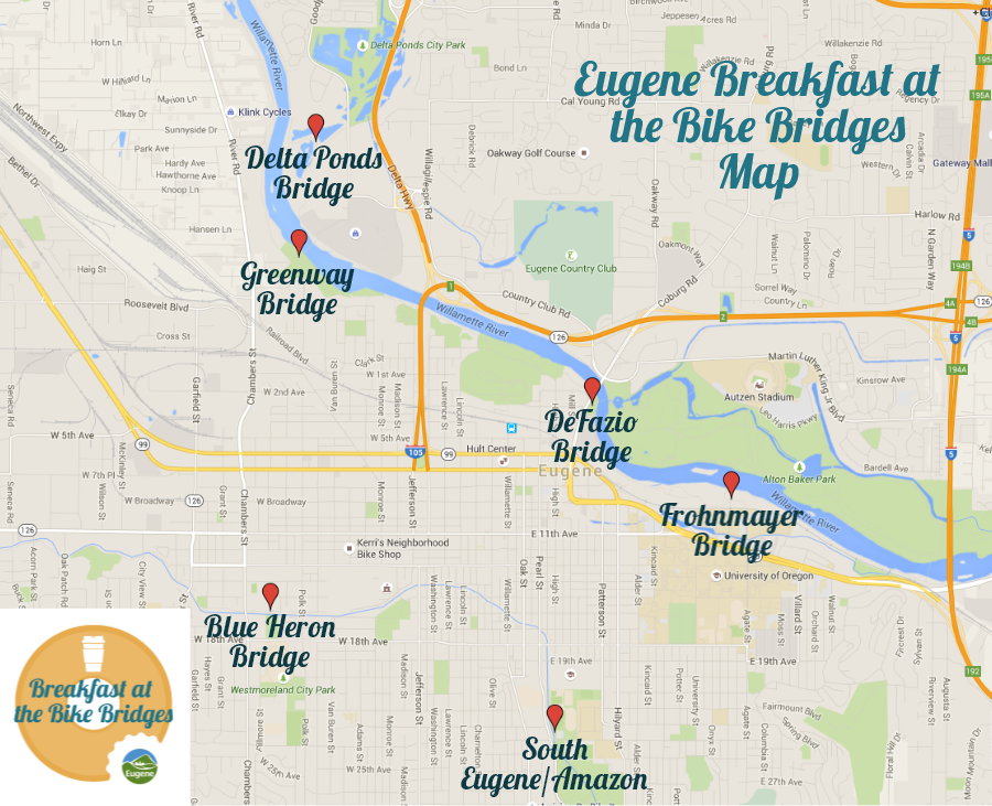 Map of Breakfast at the Bridges Locations