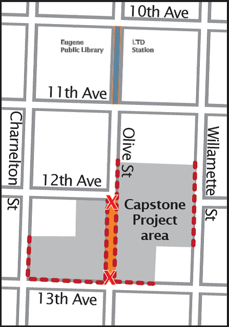 Map of street and sidewalk closures near Capstone construction area