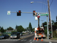 Crew working on traffic light